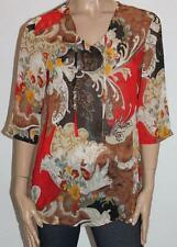 CAPTURE European Designer Floral Chiffon 3/4 Sleeve Tunic Top Size XS BNWT #sO57