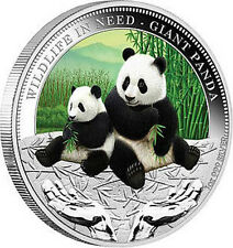 Tuvalu 2011 GIANT PANDA Wildlife In Need Silver Coin 1$ Uncirculated