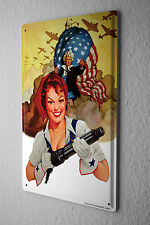Tin Sign Baron sexy pinup girl with a machine gun and an air squadron in the bac