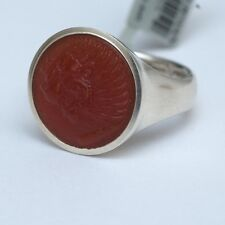 New DAVID YURMAN Men's PETRVS Lion Coin Signet Carved Carnelian Ring Size 10 NWT
