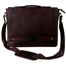 Men's Genuine Leather Messenger Laptop Bag Brown Business Briefcase Gift For Him