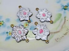 #964E Vintage brass Flower Connectors Antique Victorian Findings Stamping NOS