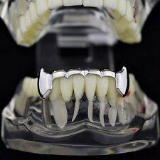 Vampire Fangs Half Grillz Silver Tone Slim Bottom Lower Fang Canine Teeth Grills