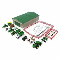 1/64 ERTL JOHN DEERE 70 PC VALUE SET W/ GRAY MACHINE SHED