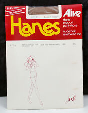 Hanes Alive Barely There Size C Sheer Support Pantyhose Nude Heel Reinforced Toe