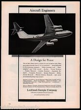 1963 C-141 Starlifter Jet Transport Lockheed Aircraft Engineers Employment AD