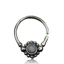 TRIBAL 16G MOON STONE STERLING SILVER HANGING SEPTUM 9MM RING NOSE AFGHAN HELIX