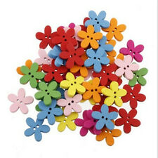 100pcs Cute Flower Flatback Wooden Buttons For Kids Baby DIY Sewing Craft
