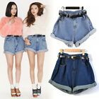 Fashion Women Girl High Waisted Oversize Crimping Boyfriend Jeans Shorts Pants