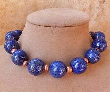 GENUINE LAPIS LAZULI NATURAL GEMSTONE NECKLACE BLUE PYRITE FOOL'S GOLD COPPER