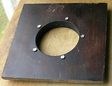 "wooden lens board 4.5"" X  4.5"" x  0.5"" thick  52.5mm hole  used"
