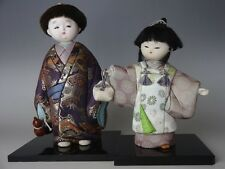 Japanese Kimekomi Ningyo Brother Sister Boy & Girl Dolls with Wooden Base