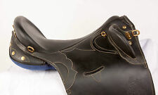 "USED 20"" BLACK LEATHER AUSTRALIAN STOCK AUSSIE TRAIL ENDURANCE HORSE SADDLE"