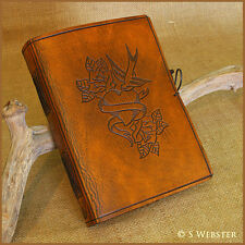 A5 SWALLOW AND HEART TATTOO HAND BOUND LEATHER JOURNAL, NOTEBOOK. Free initials.