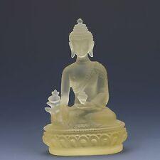 Chinese Old Peking(18th) Glass Handwork Pharmacists Buddha Yellow statues G157