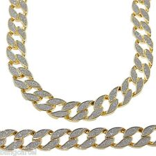 "Sand Blast Cuban Chain Gold Tone Heavy 18MM Wide Men 30"" Chunky Hip Hop Necklace"