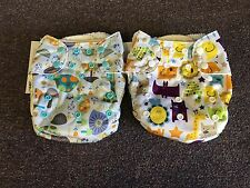 2 Blueberry Simplex Organic One Size Cloth Diapers With Inserts Snail Jungle New