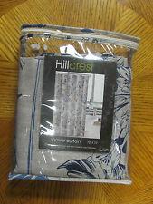 """Hillcrest Shower Curtain Blue Tan Floral 72"""" x 72"""" Machine Washable"""