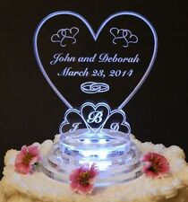 Monogram Heart Lighted Wedding Cake Topper Acrylic Cake Top Personalize Engraved