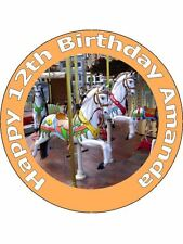 "7.5"" CAROUSEL FAIR MERRY GO ROUND BIRTHDAY CAKE TOPPERS ON EDIBLE RICE PAPER"