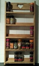 HANDMADE WOODEN RUSTIC SPICE RACK  5 TIER  - STORAGE - WALL - SHELVING - KITCHEN