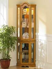 Lighted Corner Curio Cabinet - Golden Oak [ID 10011]