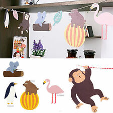 Cartoon Monkey Hanging Paper Flags Baby Shower Banner Bunting Decor Garland