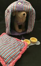 American Girl Posable Dog Sandy With Dog House Pillow Bowls Bone Mat Retired
