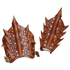 Dragon Scale Bracers. Brown, Leather, Fantasy, Rock, Vampire, Cosplay, LARP,