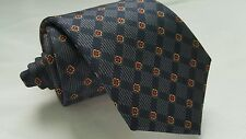 Men's Christian Dior Blue ish Gray Dark Red Diamonds Silk Skinny Neck Tie
