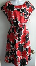TALBOTS NWT $148 RED FLORAL SILK SHEATH BELTED CAREER COCKTAIL DRESS SZ 8