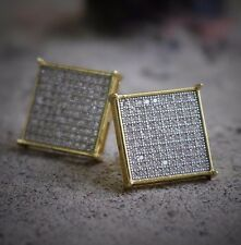 Men Gold Large Square Flat Screen Hip Hop Stud Screw Back Earrings Size 16mm
