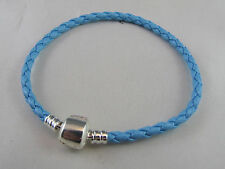 19cm SP BRIGHT AQUA BLUE BRAIDED LEATHER CHAINS EUROPEAN STYLE CHARM BRACELETS