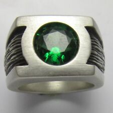 MJG STERLING SILVER GREEN LANTERN RING. 10mm GREEN CZ. SIZE 11. COMIC CON
