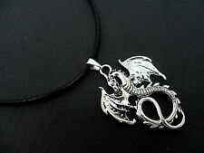 "A LADIES GIRLS BLACK LEATHER CORD 13 - 14"" CHOKER DRAGON NECKLACE. NEW."