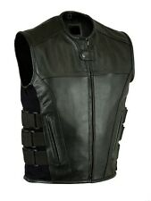 Men-Leather-Motorcycle-Biker-Vest-Bullet-Proof-VEST WITH GUN POCKETS NEW