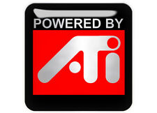 "Powered By ATI 1""x1"" Chrome Domed Case Badge / Sticker Logo"