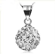 925 Sterling Silver Necklace AAA Crystal Ball Penadnt Classic Fashion Jewelry