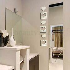 DIY Specchio Adesivi Da Parete Decorazione Casa Wall Stickers Decal Heart Shaped