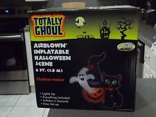 Totally Ghoul 6ft Halloween Scene Airblown Inflatable *Pumpkin *Ghost *Cat  NEW!