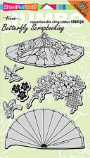 Asian Umbrella Set Jumbo Unmounted Cling Rubber Stamps Set by Stampendous NEW