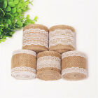 Jute Burlap Natural Hessian Ribbon W/ Lace Trim Edge Wedding Xmas Rustic Vintage