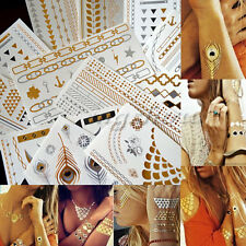 12 Sheet Temporary Metallic Tattoo Gold Silver Black Flash Tattoos Inspired New