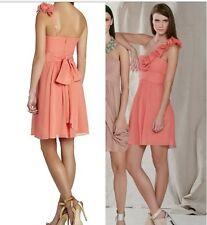 NWT BCBG BCBGMAXAZRIA Thalia One-Shoulder Silk Dress Coral Pink Size 2