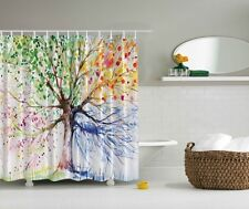 Abstract Tree Digital Print Shower Curtain Colored Leaves Branch Graphic Curtain