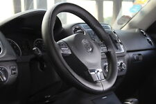 "Black 15"" PVC Leather Steering Wheel Cover Stitch Wrap w/ Needle & Thread 47007L"