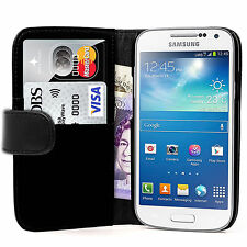 BLACK WALLET Leather phone Case with card slot for Samsung Galaxy Ace 4 UK STORE