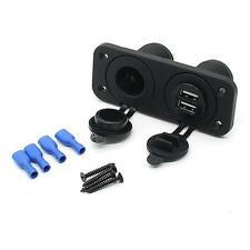 Dual USB Charger and Socket Panel Mount Marine 12 Volt Car Boat Power Outlet New
