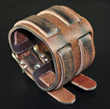 Men's Double-Band-Through Wide Vintage Genuine Leather Bracelet Wristband Cuff