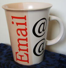 Coffee Mug Email @ @ Salmon Pink & White w/ computer terms jargon